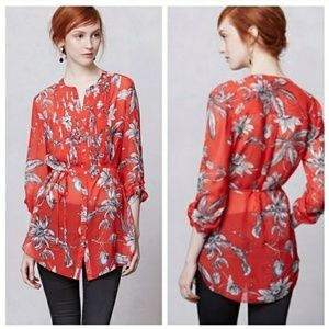 Liefsdottir for Anthro Cattleya Silk Floral Tunic